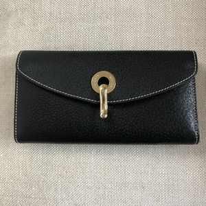 Kathe Spade Tri Fold Black Leather Wallet